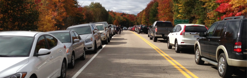 Road near Dorset Tower, lined with cars, busy, fall colours in background
